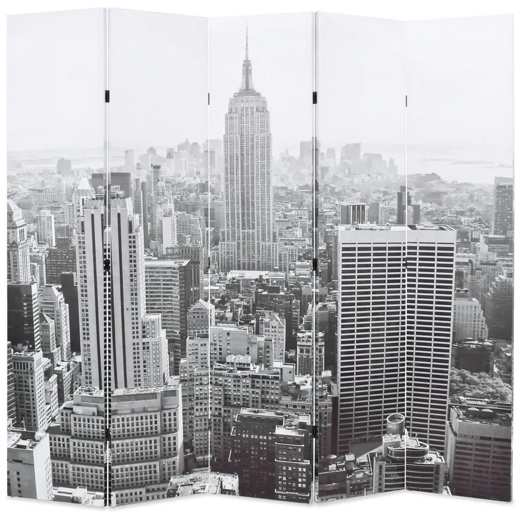 245859 vidaXL Paravan cameră pliabil, 200x170 cm, New York pe zi, alb/negru