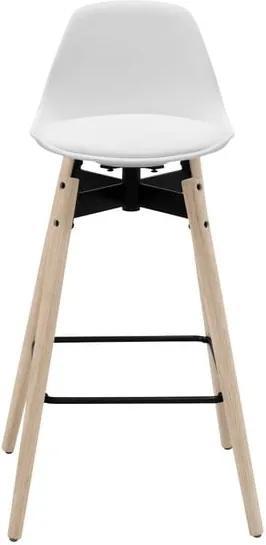 Scaun bar cu baza din lemn de stejar Actona Zenta, alb