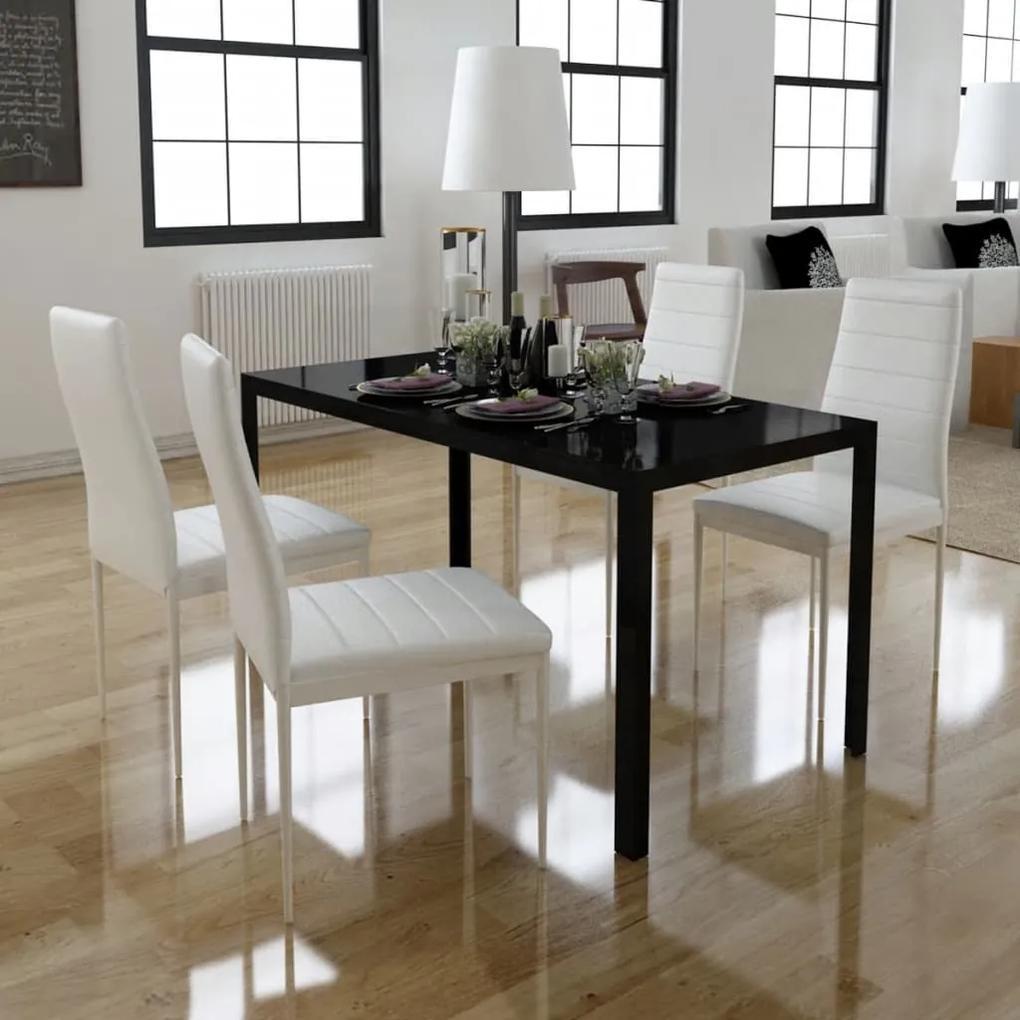 242989 vidaXL Set masă și scaune de bucătărie, cinci piese, negru