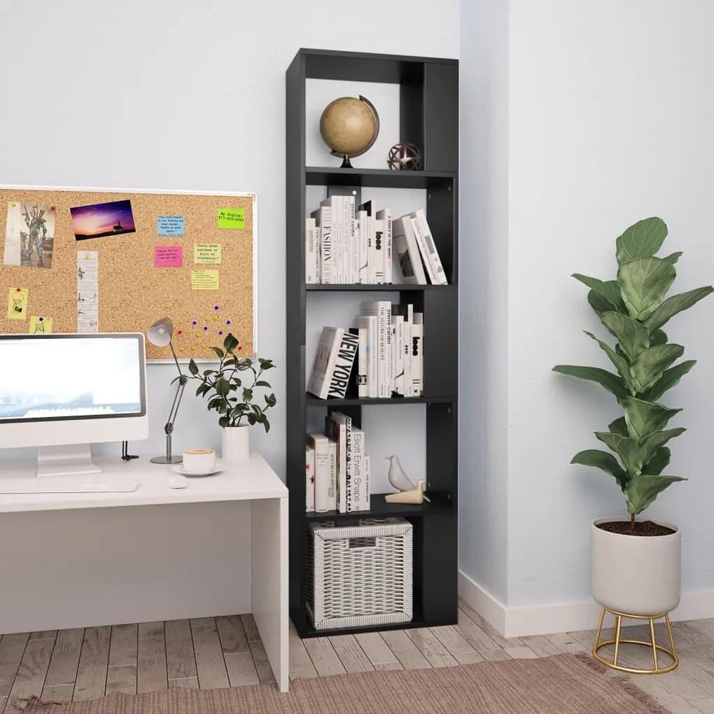 800109 vidaXL Bibliotecă/Separator cameră, negru, 45x24x159 cm, PAL