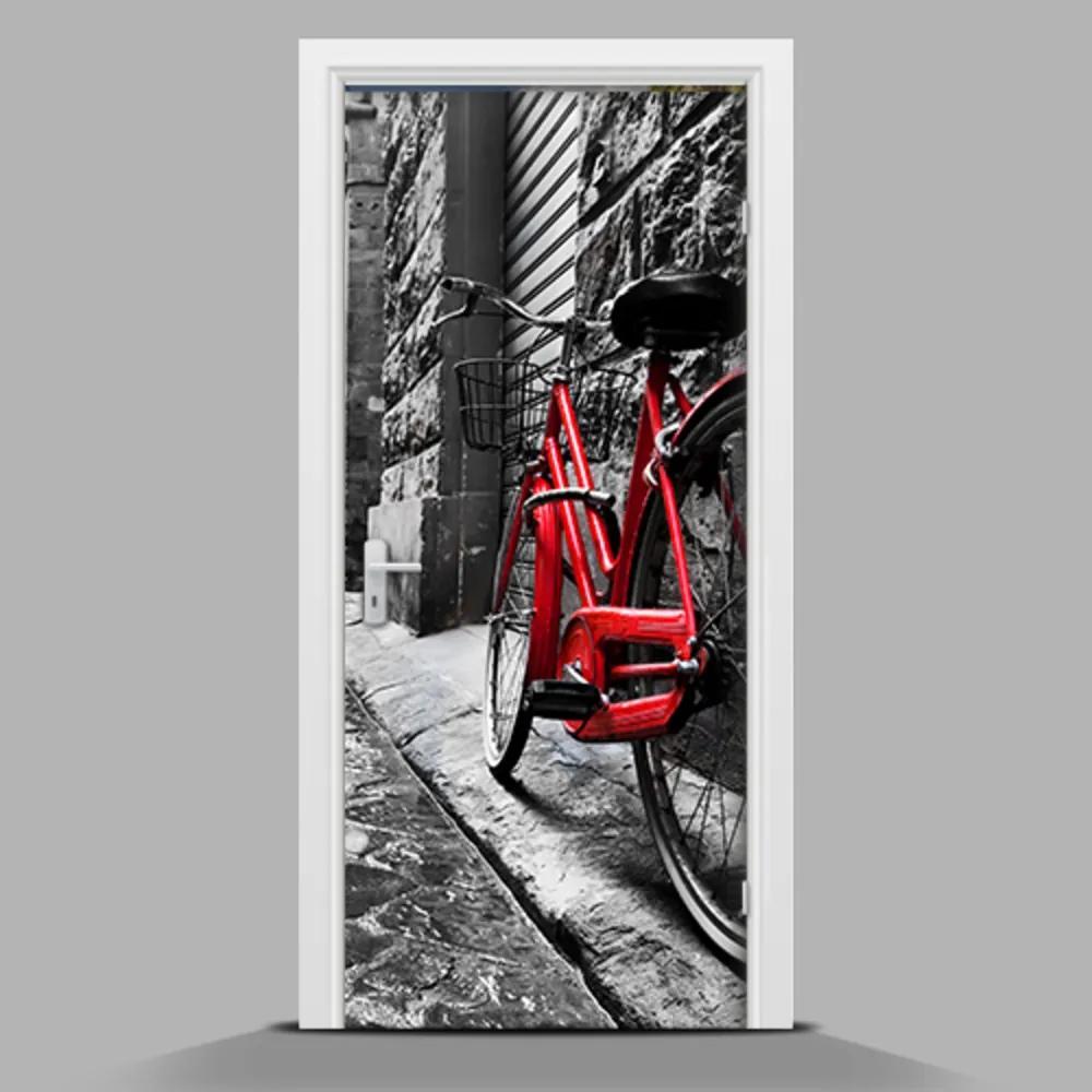 Autocolant de uşă Bicicletă roșie