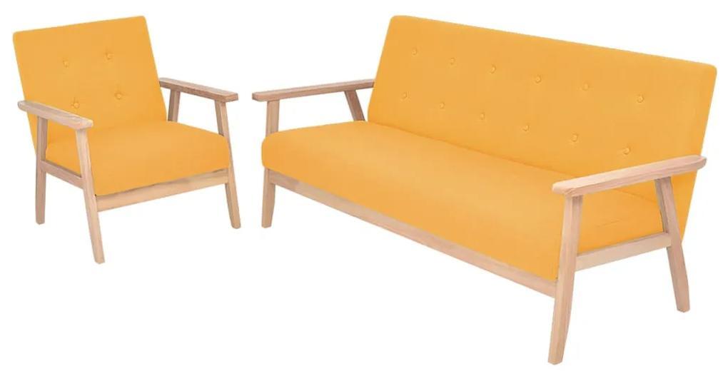 274917 vidaXL Set de canapele 2 piese, textil, galben