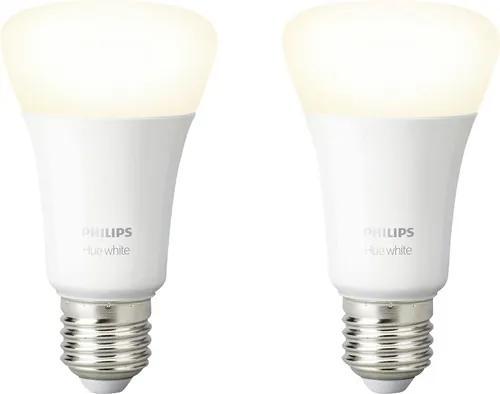 Becuri LED variabile Philips Hue E27 9,5W 806 lumeni, glob mat A60, lumina calda, 2 bucati Bluetooth