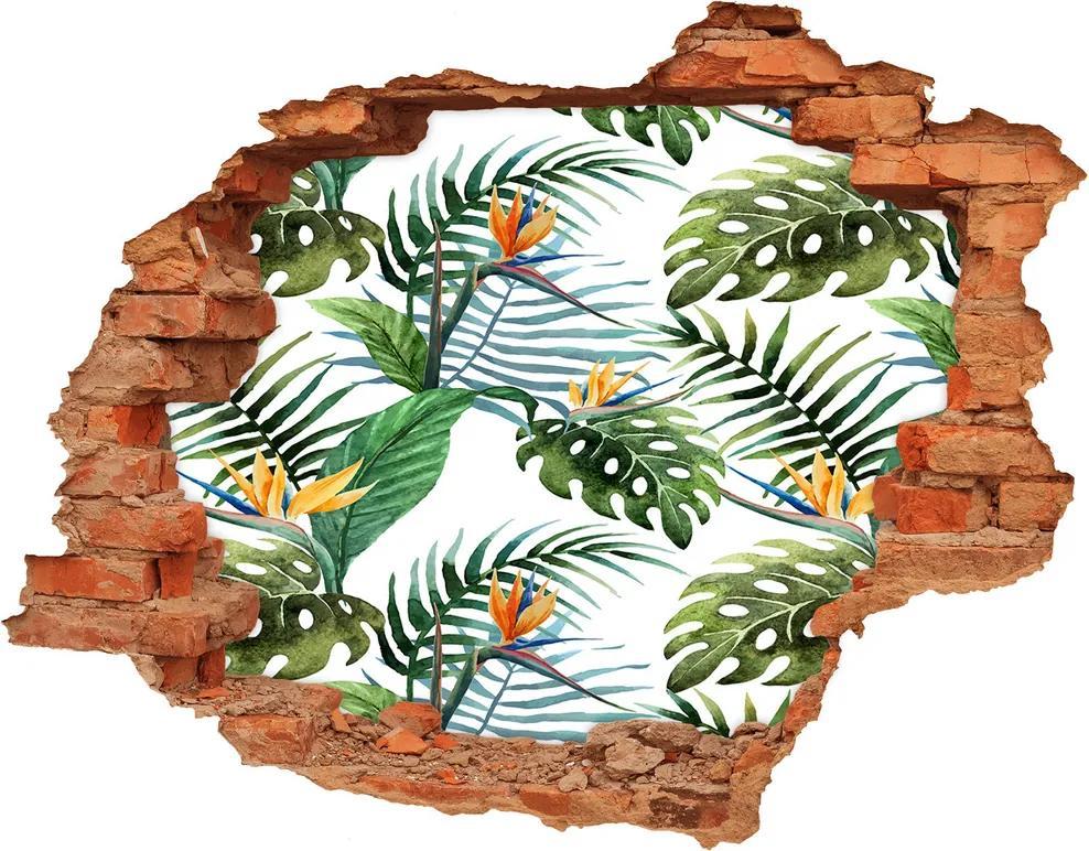 Nálepka 3D diera betón Tropické kvety