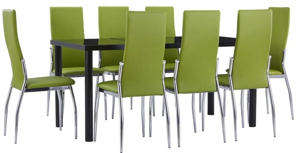 3053050 vidaXL Set mobilier de bucătărie, 9 piese, verde, piele ecologică