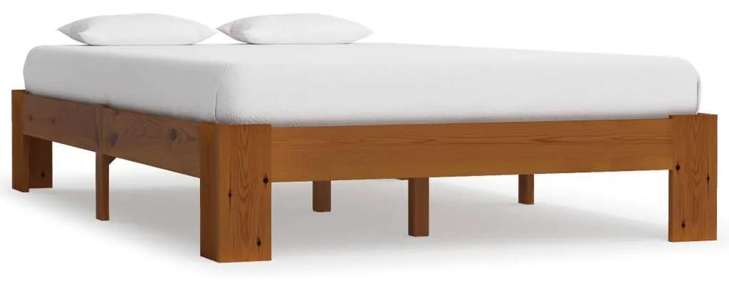 283288 vidaXL Cadru de pat, maro deschis, 120 x 200 cm, lemn masiv de pin
