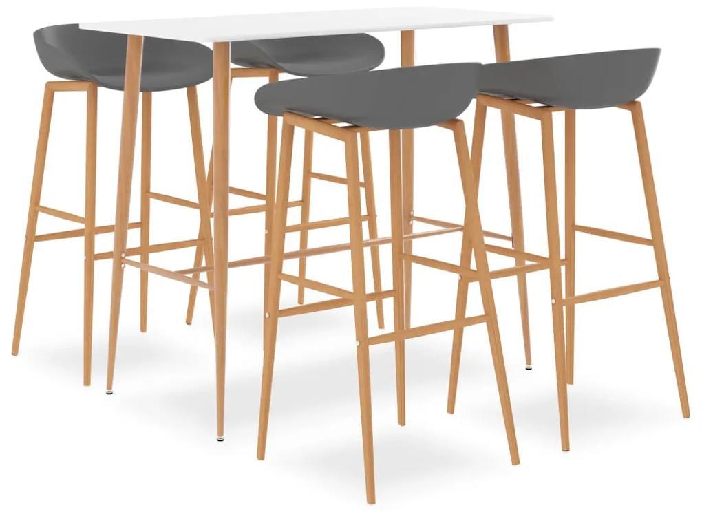 3057442 vidaXL Set mobilier de bar, 5 piese, alb și gri