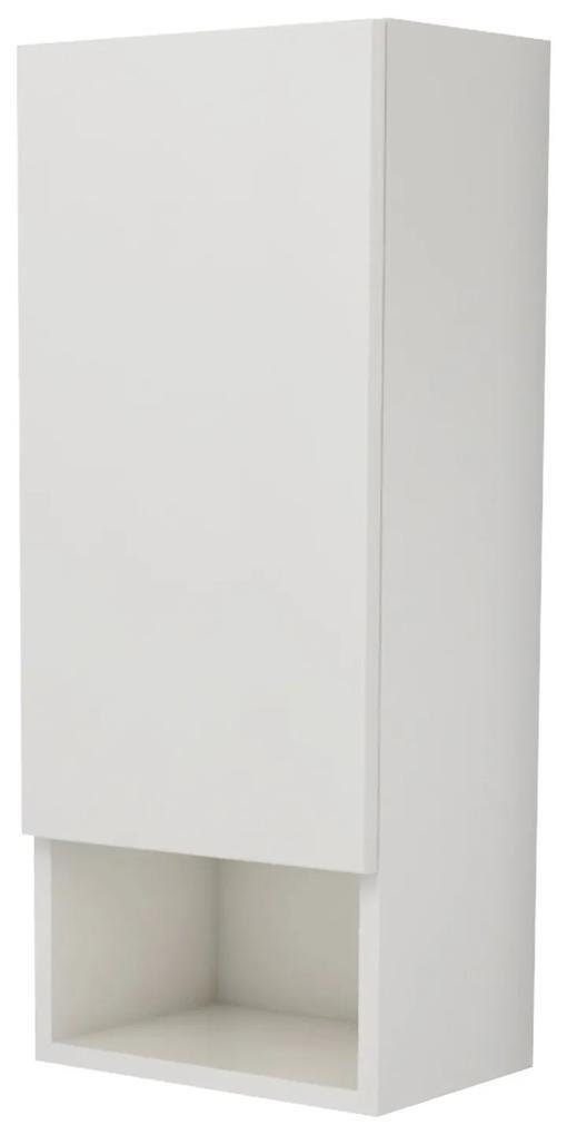 Corp Baie, Suspendat, 1 Usa, Alb lucios/Alb, MDF, L 30 x l 22 x 72 cm