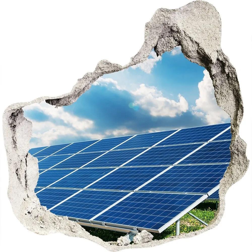 Fototapet un zid spart cu priveliște Baterii solare