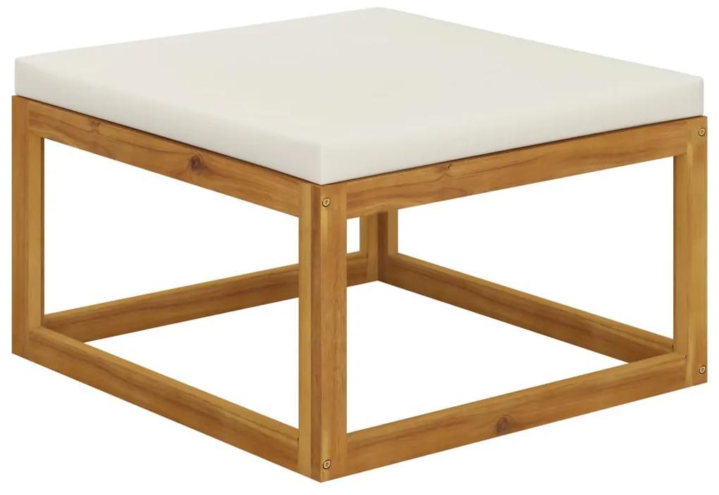 311865 vidaXL Taburet de picioare, cu pernă alb crem, lemn masiv de acacia