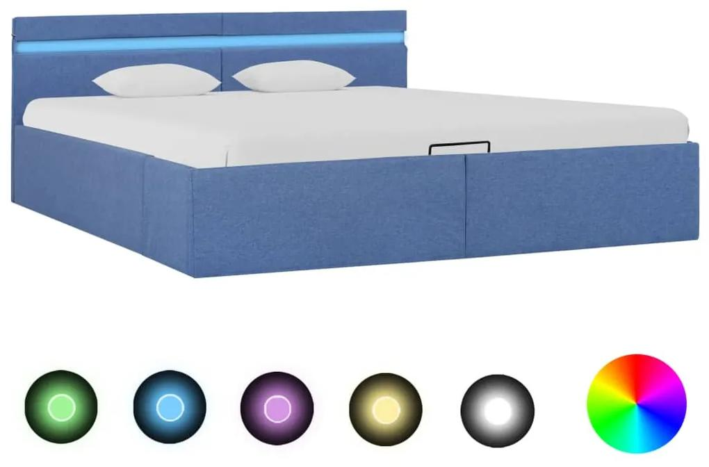 285616 vidaXL Cadru pat hidraulic ladă și LED, albastru, 160 x 200 cm, textil