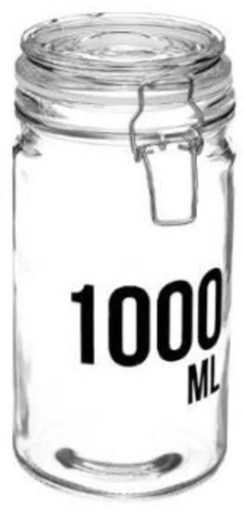 Borcan 1000 ML pentru depozitare cu capac ermetic  cleme metalice