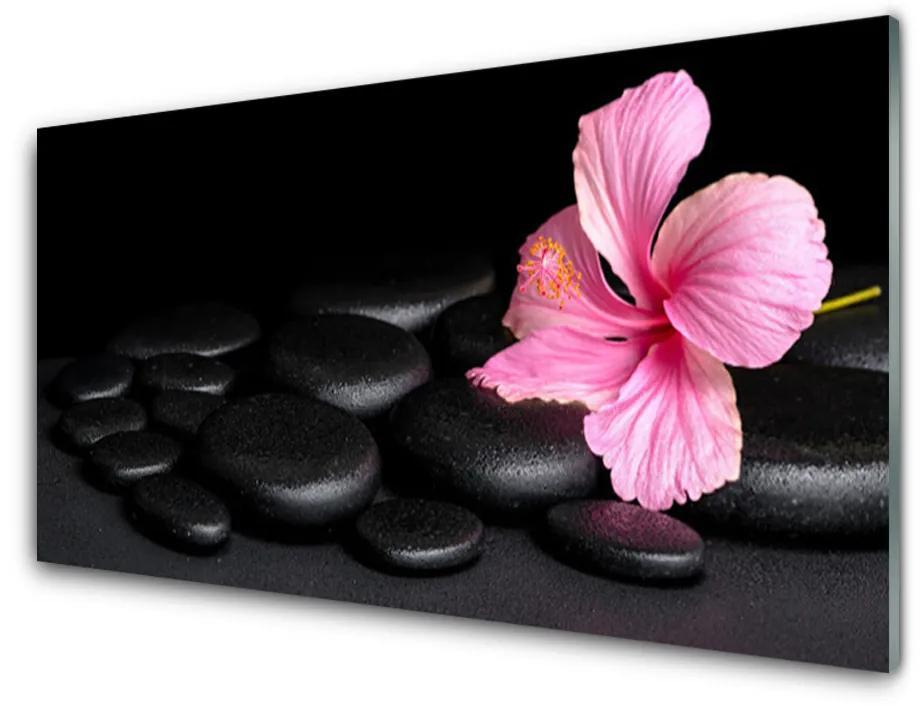 Tablou pe sticla acrilica Pietrele de flori Arta roz negru