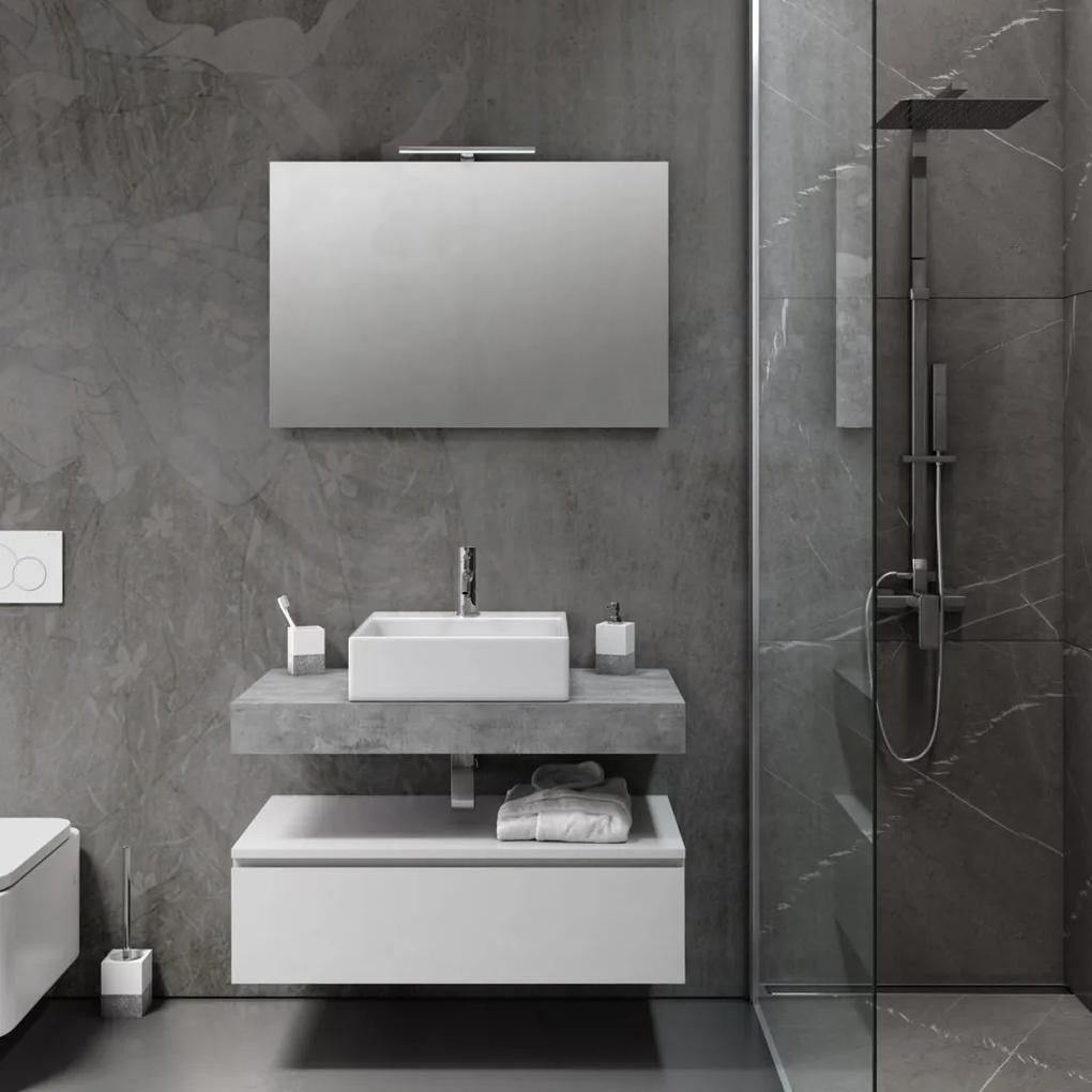 Set de baie cu 5 piese YOKA , Melamina Aluminiu Abs Sticla Ceramica Metal, Gri,  90x45x190 cm