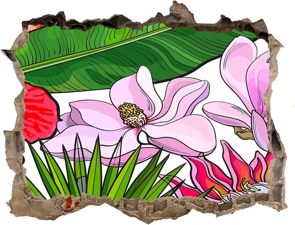 Autocolant un zid spart cu priveliște Flori hawaii