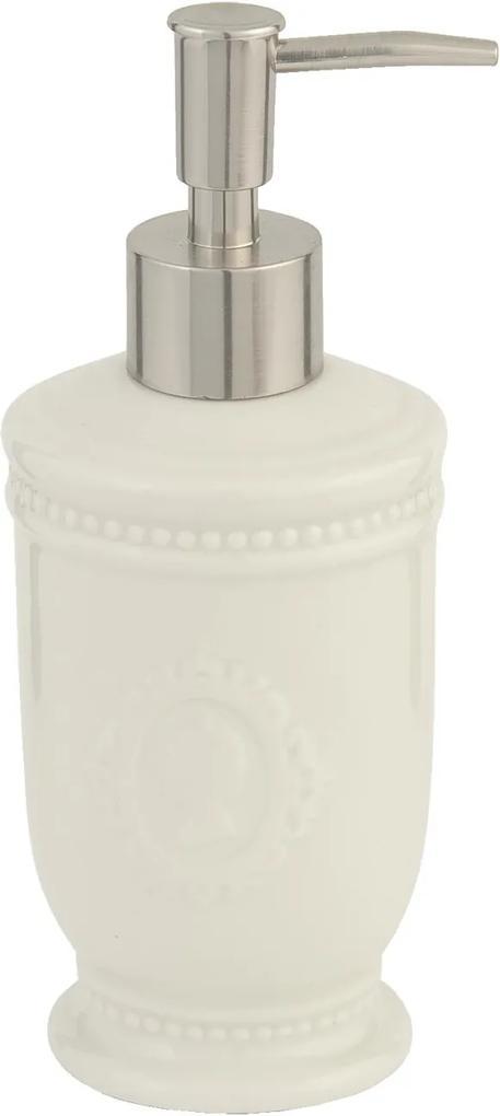 Dispenser ceramica alba pentru sapun Lady Ø7x18 cm