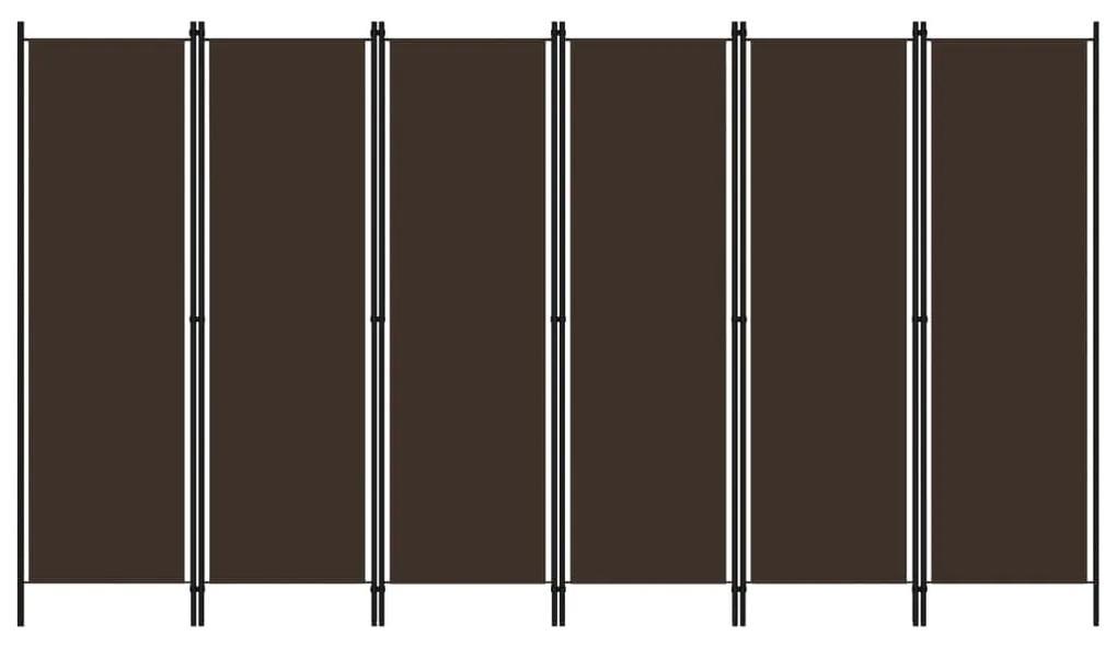 320728 vidaXL Paravan de cameră cu 6 panouri, maro, 300 x 180 cm