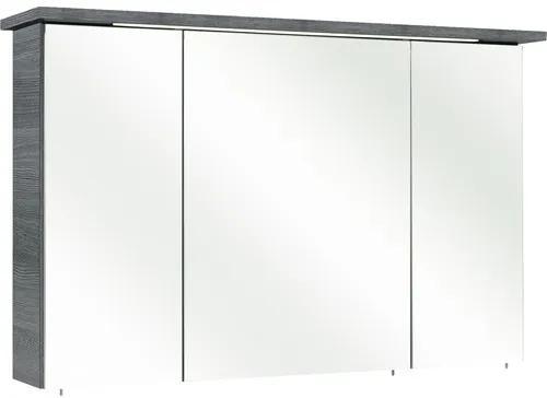 Dulap cu oglinda pelipal Cesa III, 3 usi, iluminare LED, 72x115 cm, grafit, IP 44