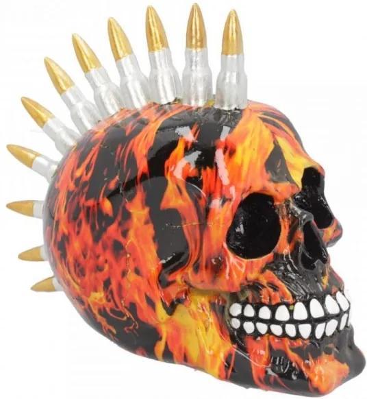 Statueta craniu cu gloante Inferno 18 cm