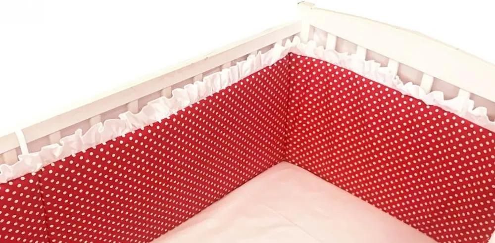 Aparatori laterale cu volanase si buline 140x70 h30 cm rosii