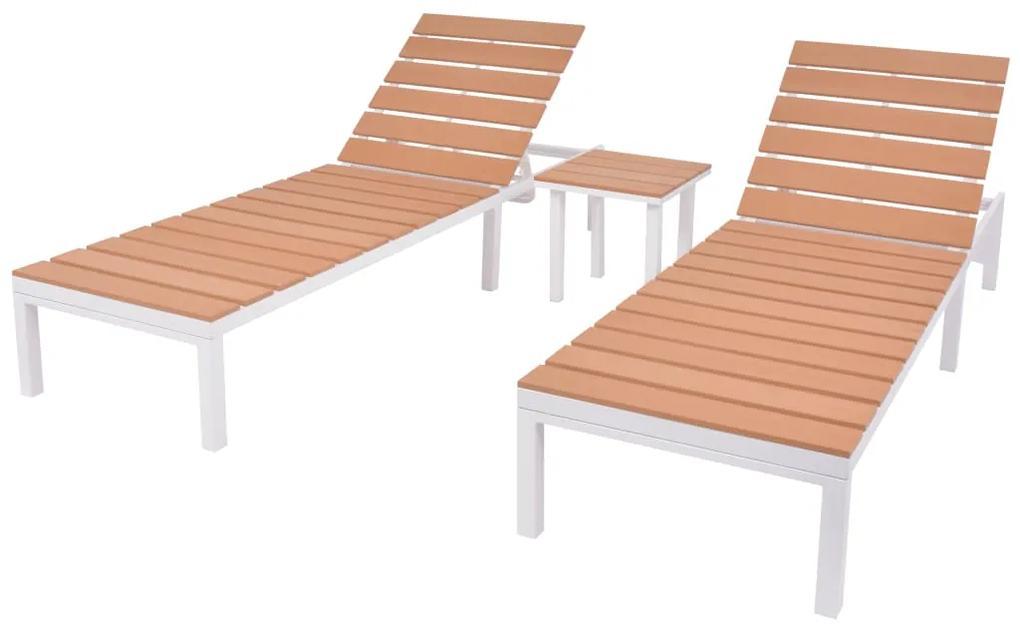 274876 vidaXL Șezlonguri de plajă cu masă, 2 buc., alb & maro, aluminiu & WPC