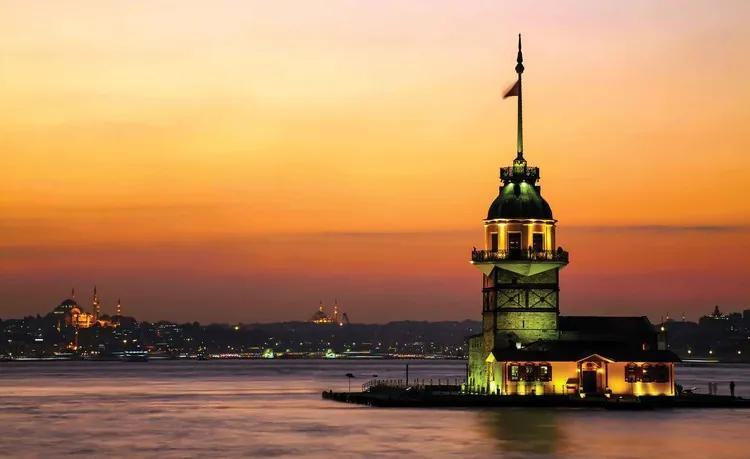 Istanbul City Urban Sunset Fototapet, (104 x 70.5 cm)