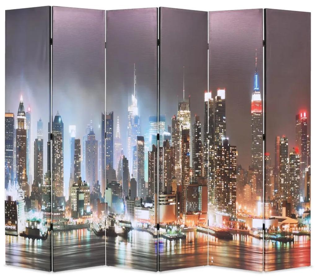 245864 vidaXL Paravan cameră pliabil 228 x 170 cm, New York pe timp de noapte