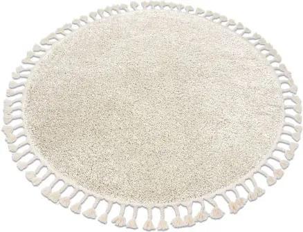 Covor Berber 9000 cerc cremă Franjuri shaggy cerc 120 cm