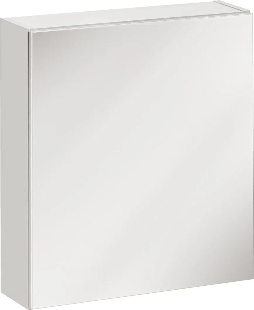 Dulap de baie cu oglinda si 1 usa Twist White 50x15x55 cm
