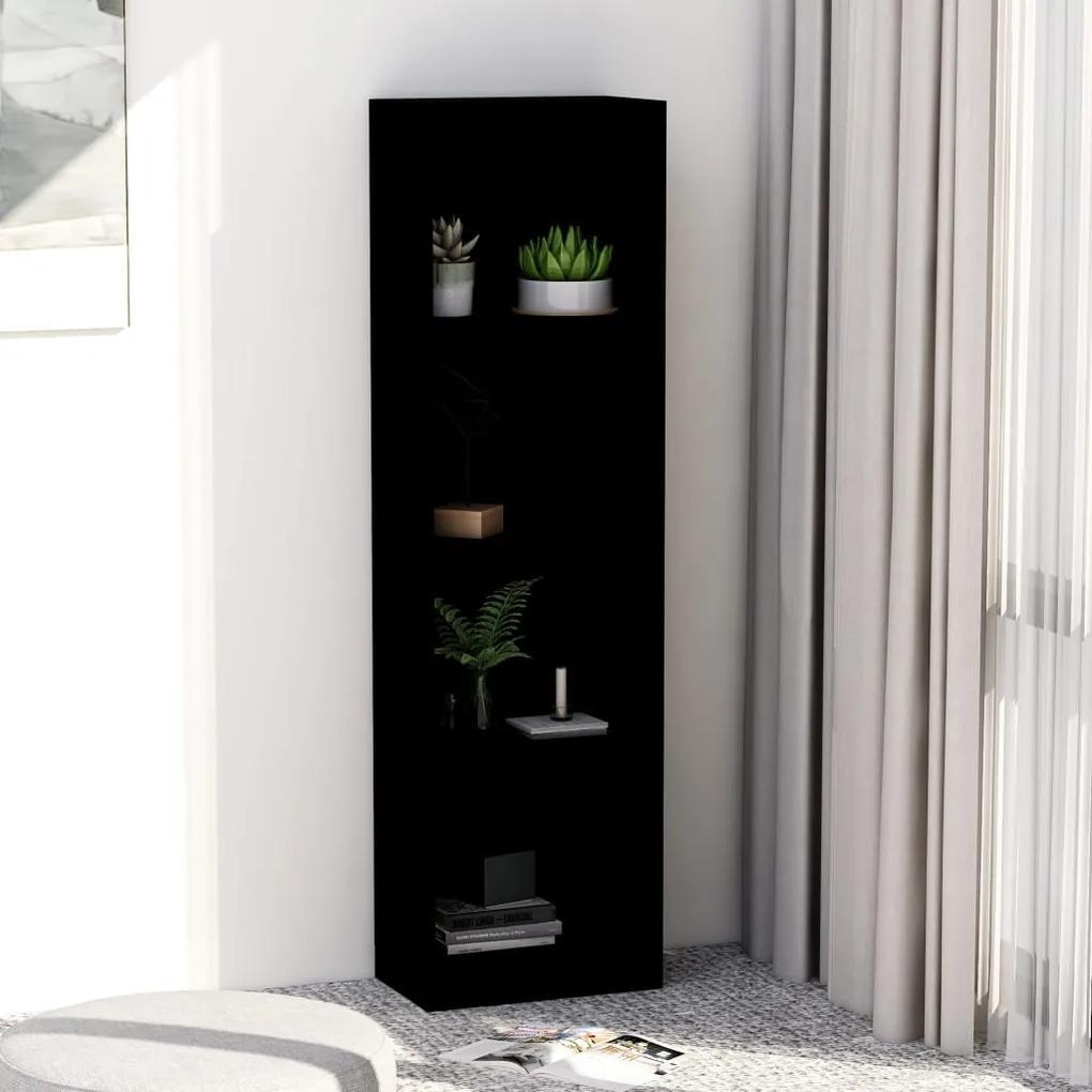 800838 vidaXL Bibliotecă cu 4 rafturi, negru, 40 x 24 x 142 cm, PAL