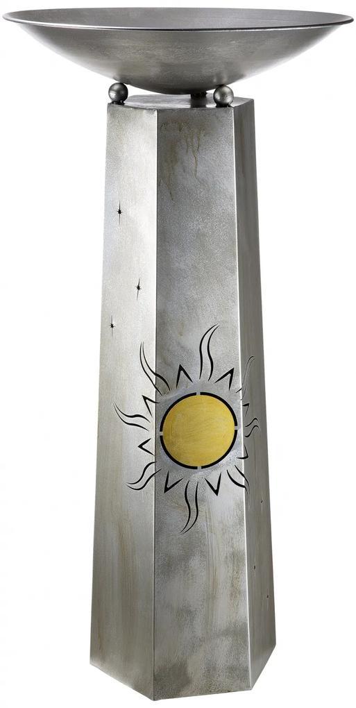 Suport flori Sun, metal, argintiu, 117x58 cm