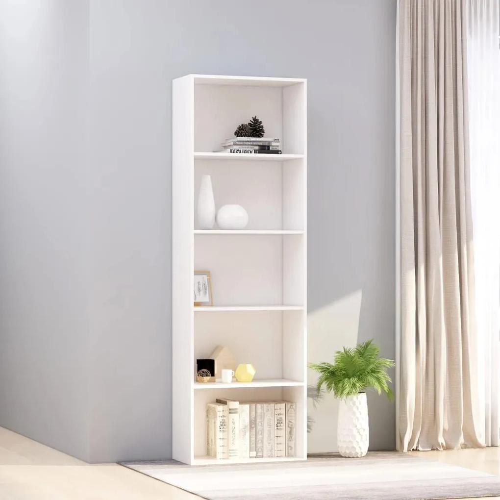 800990 vidaXL Bibliotecă cu 5 rafturi, alb, 60 x 30 x 189 cm, PAL