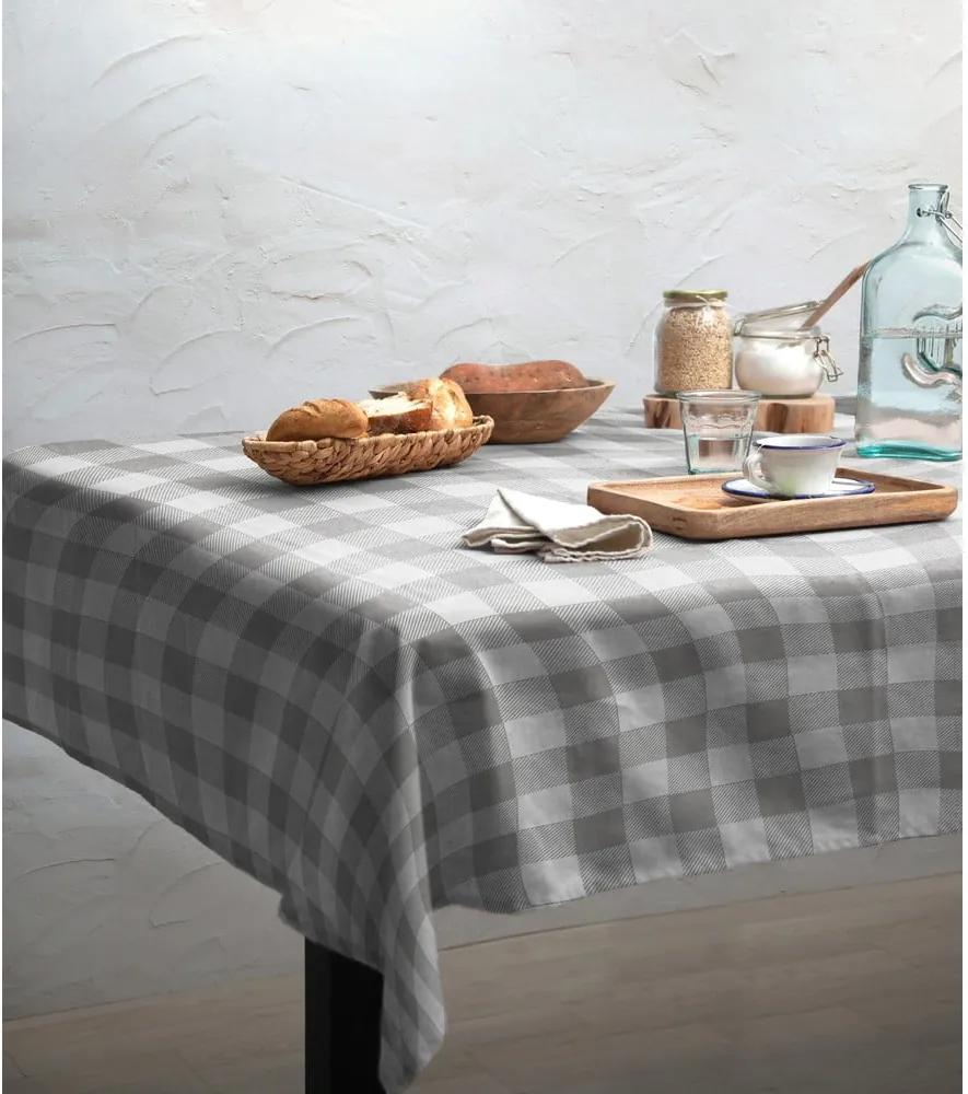 Față de masă Linen Couture Mantel de Lino Grey Vichy, 140 x 140 cm