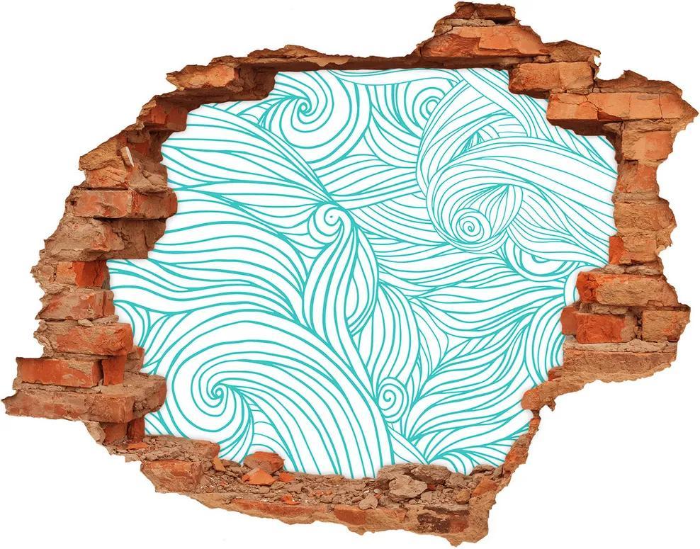 Fototapet 3D gaură în perete Val albastru