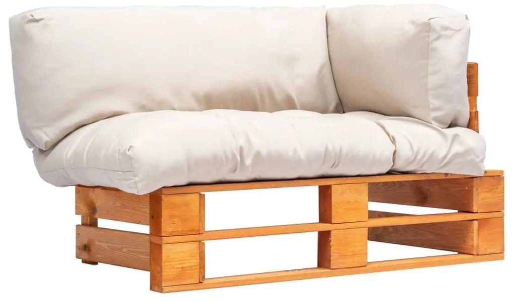 277446 vidaXL Canapea de grădină din paleți cu perne nisipii, lemn de pin