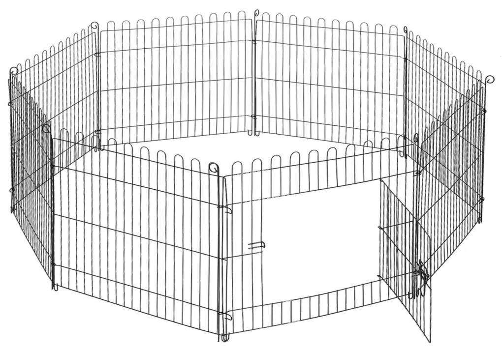 PawHut Țarc pentru Câini Pisici Mici Rozătoare Gard Plasă Cușcă 8 Bucăți 61 x 61cm Negru