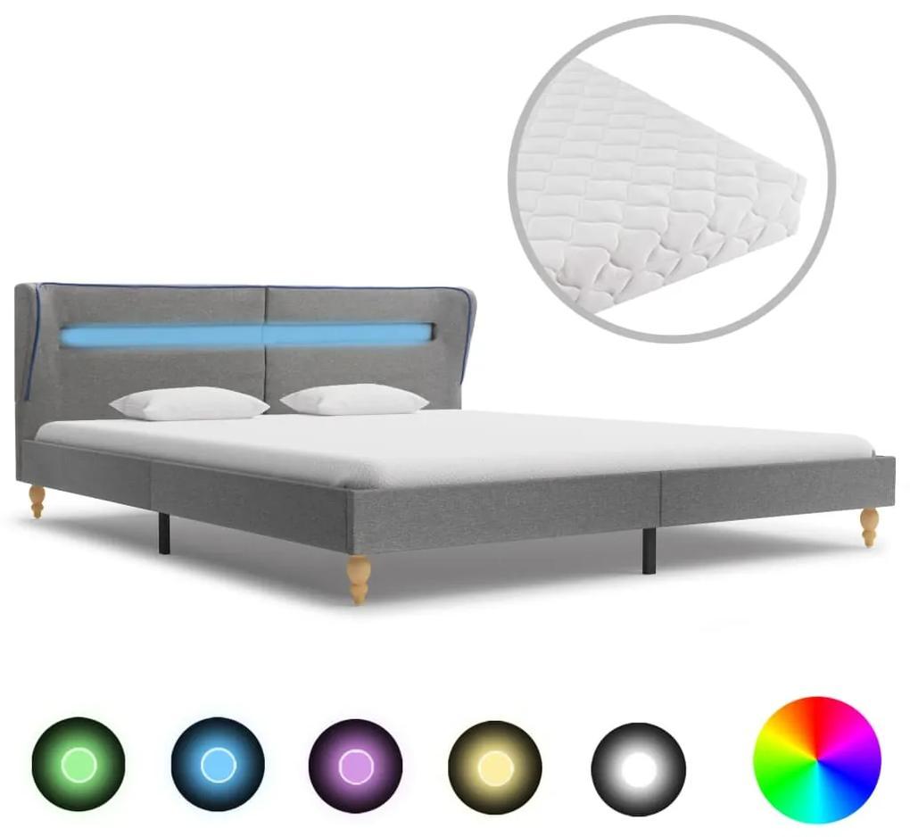 278365 vidaXL Pat cu LED și saltea, gri deschis, 160x200 cm, material textil