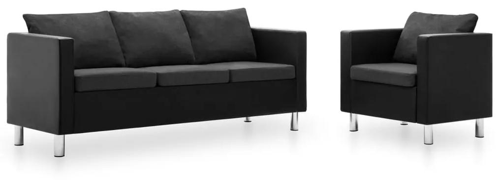 275508 vidaXL Set canapea, 2 piese, negru și gri închis, piele ecologică
