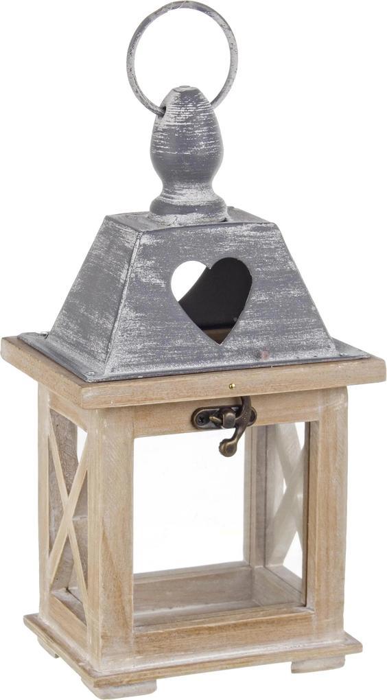Felinar lemn metal bej gri Alinka 13x10x24h