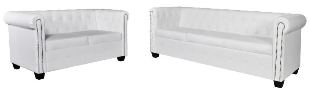 272250 vidaXL Canapea Chesterfield cu 2 și 3 locuri, piele artificială, alb