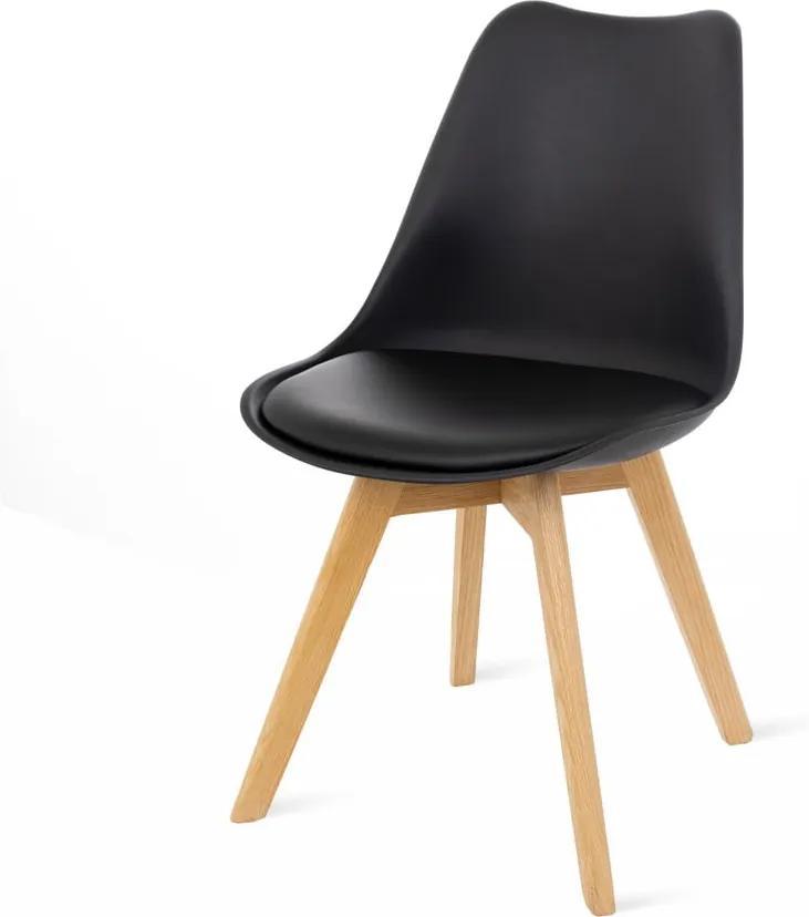 Set 2 scaune cu picioare din lemn de fag loomi.design Retro, negru