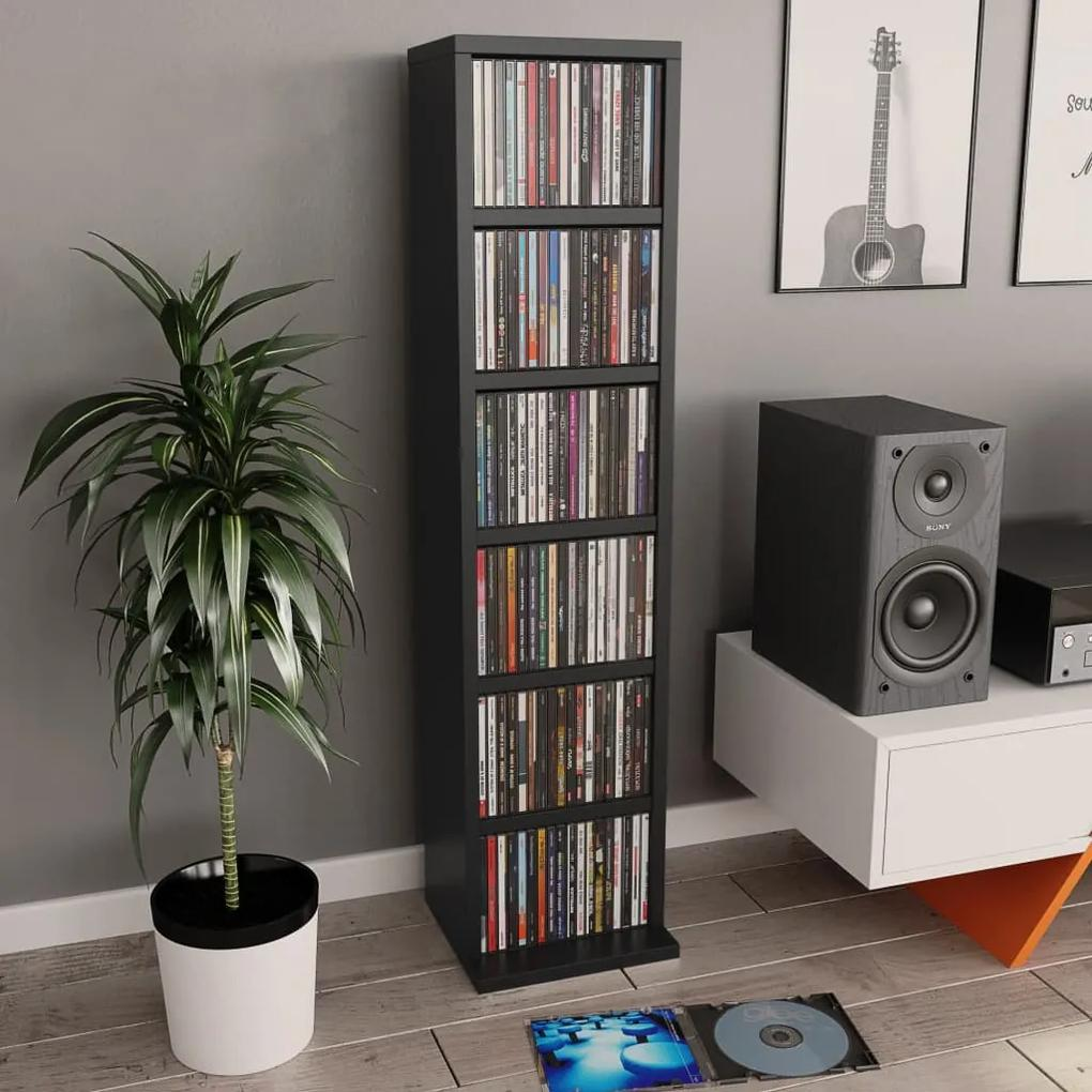 800352 vidaXL Dulap CD-uri, negru, 21x20x88 cm, PAL