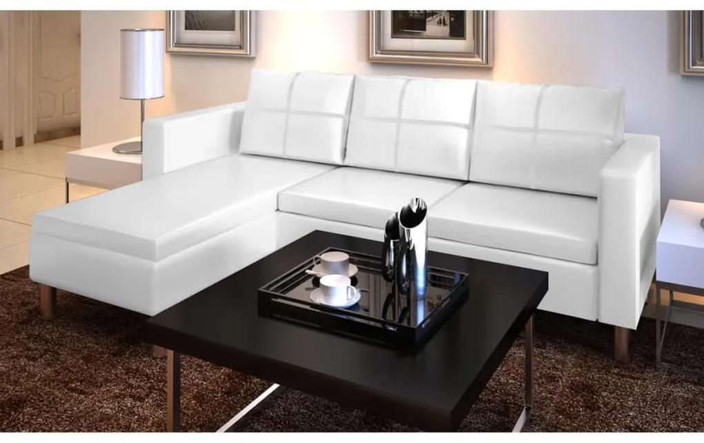 241980 vidaXL Canapea modulară cu 3 locuri, piele artificială, alb