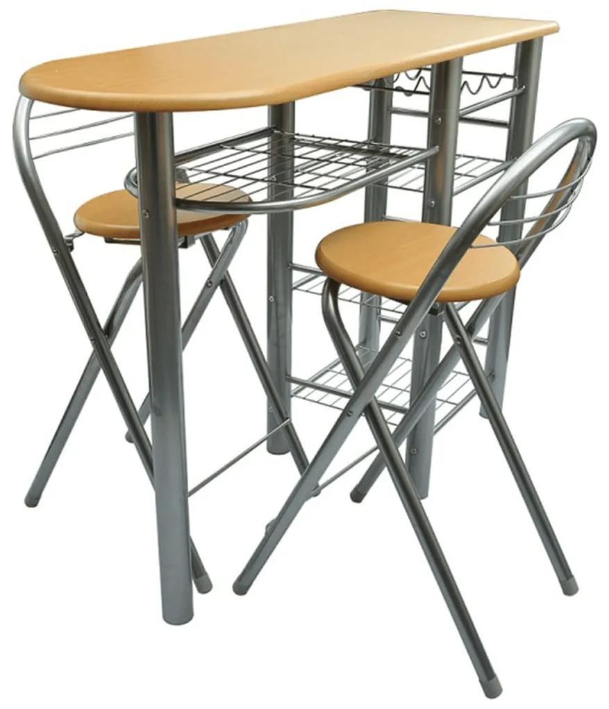 240096 vidaXL Set mobilier bar din lemn