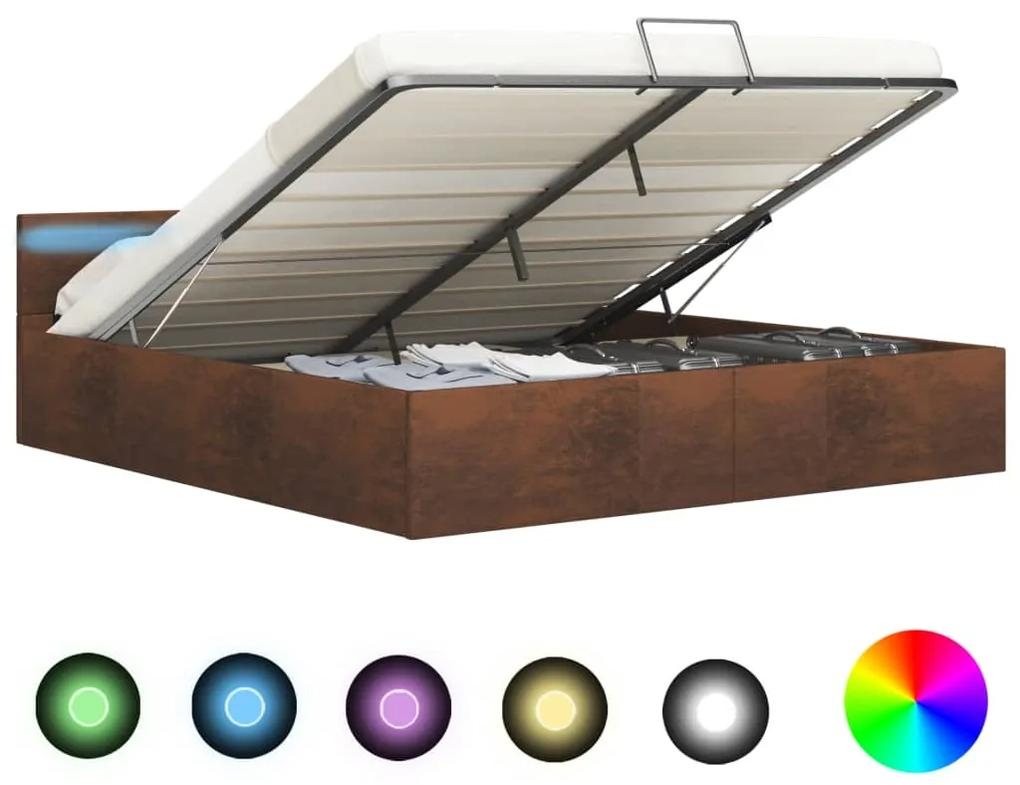 285568 vidaXL Cadru de pat hidraulic cu ladă LED, maro, 160 x 200 cm, textil