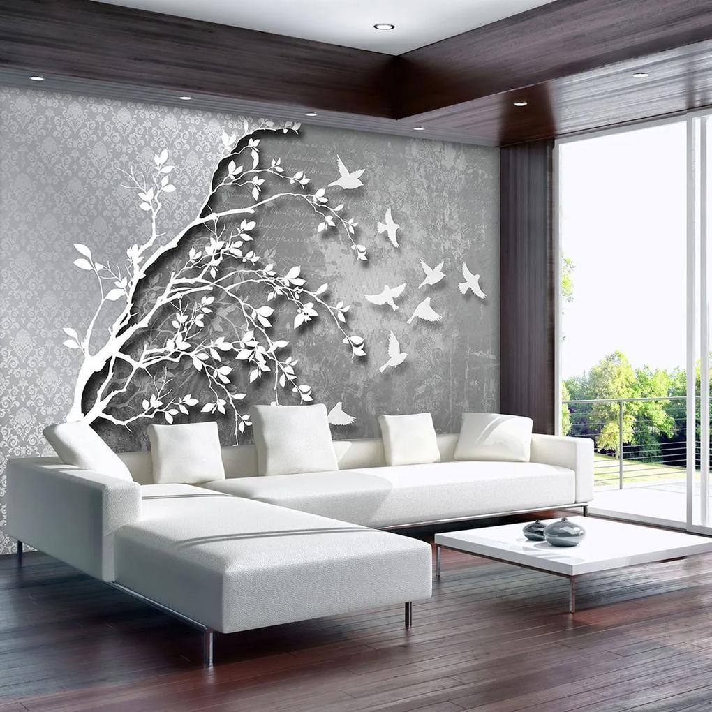 Fototapet - Copac argintiu cu păsărele (152,5x104 cm), în 8 de alte dimensiuni noi