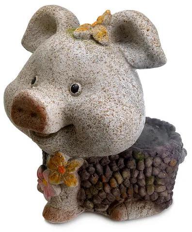 Decoratiune gradina ceramica purcel cu ghiveci, inaltime 34 cm