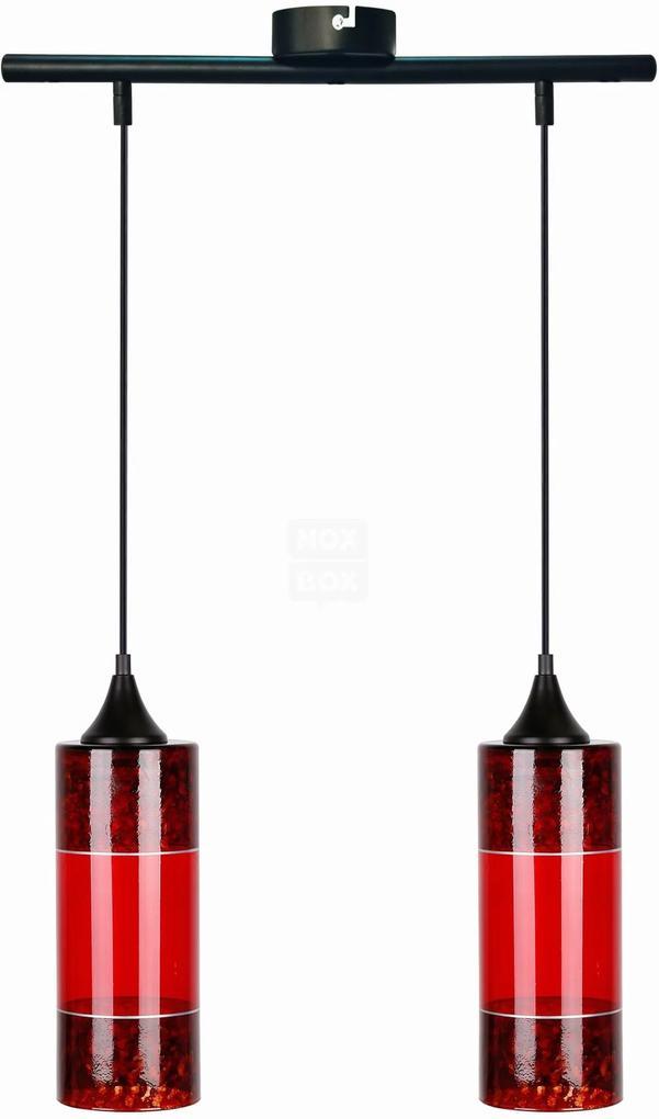 Plazma II - Lustră cu 2 abajururi roșii din sticlă