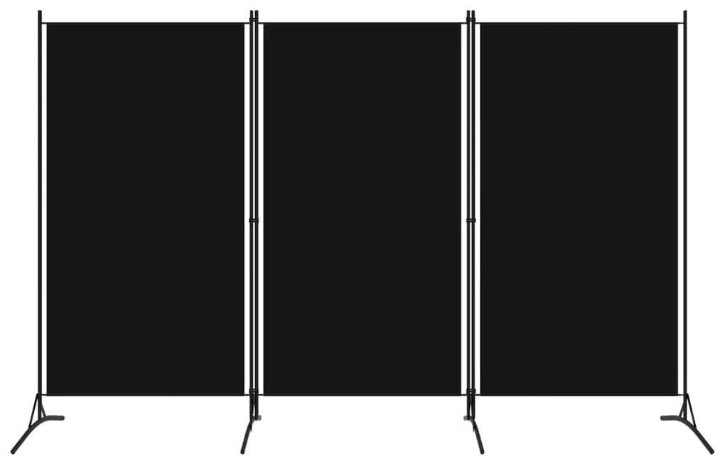 320734 vidaXL Paravan de cameră cu 3 panouri, negru, 260 x 180 cm