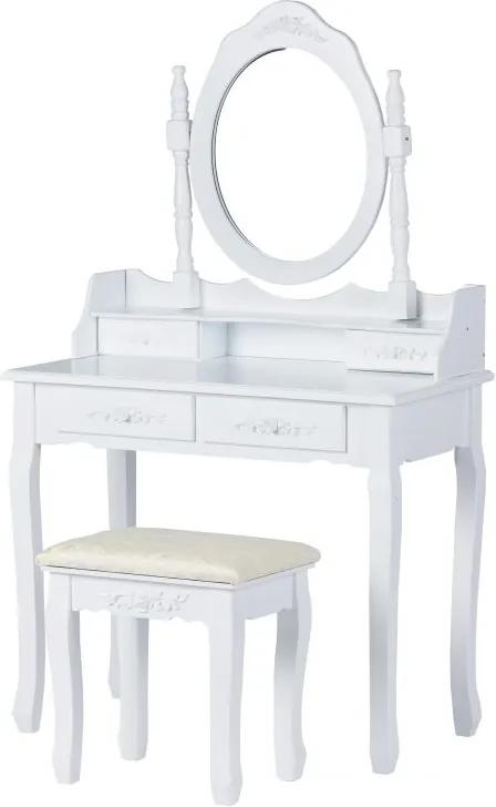 Set Masa Toaleta pentru Machiaj cu Oglinda Ovala si Sertare + Scaun, Stil Modern, Culoare Alb